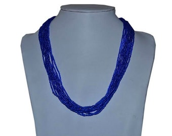 Blue Multi-Strand Seed Beads Necklace,Nepal, N103