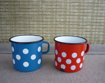 Set of 2 Vintage Metal Enamel Polka Dot Coffee Mugs, Rustic, Cabin Kitchen Decor