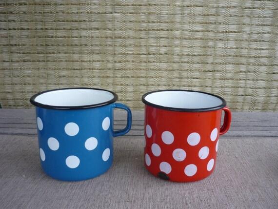 Set di 2 smalto metallo vintage caffè pois tazze di bellaroni