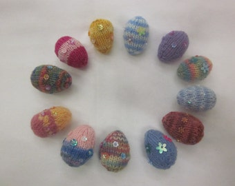Hand Knitted Tiny Easter Eggs, a dozen, perfect for egg hunts!