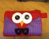Red Felted Coin Purse - Owl