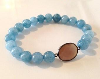 Baby Blue Jade and Gunmetal Moonstone Bracelet