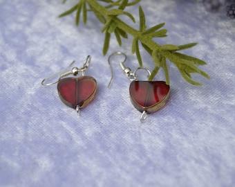 Red heart bead earrings