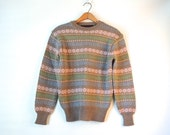 80s Brown & Pastel Wool Sweater / Preppy Sweater / Fair Isle Knit Pullover Sweater / Argyle Print Sweater / Greenwich Club / Small Medium