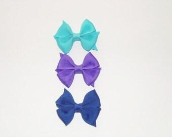 Baby Hair Bows, Mini Hair Bows, Set of 3 Infant Hair Bows, Hair Bows, Baby Girls