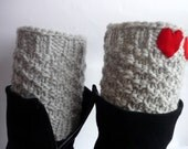 Knit Boot Cuff,  grey color, wellies boot cuff , knit leg warmers, with two red heart , Valentines gifts,