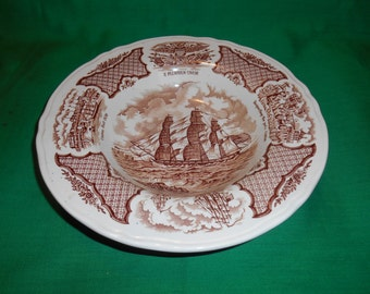 "One (1), 9"" Large Rim Soup Bowl, from Alfred Meakin, in the Fair Winds, Brown Pattern."