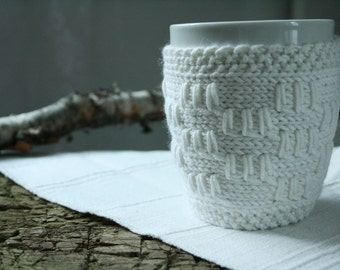 White knit mug cozy, coffee cup warmer, knitted home decor