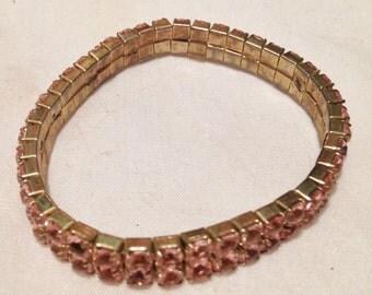 Pink Rhinestone Stretch Bracelet