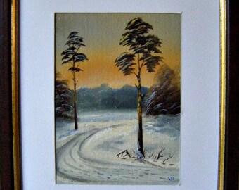 "Original Oil paintings for Sale: ""Winter Sunset"", landscape"