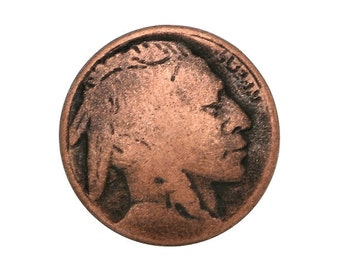 12 Indian Head 3/4 inch ( 20 mm ) Metal Buttons Antique Copper Color