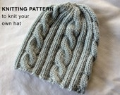 KNITTING PATTERN:  Cable Ribbed Hat for All Sizes - baby hat, child hat, adult hat, DIY knitting pattern pdf file
