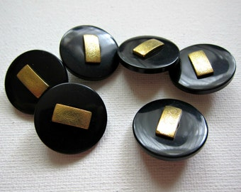 6pcs Black with Gold Plastic Shank Buttons