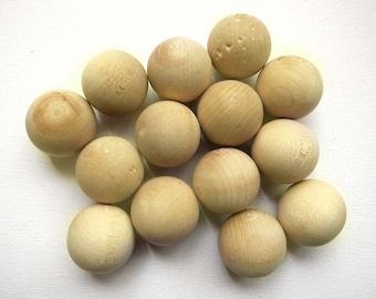 """14pcs 1"""" Wood BALLS Natural tone"""