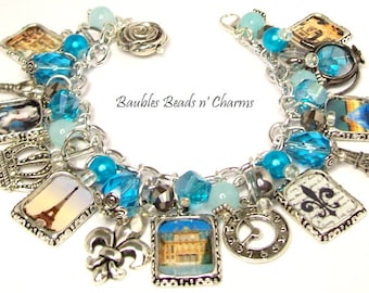 Paris Charm Bracelet Jewelry in Aqua Blue, Paris Landmarks Charm Bracelet, French Charm Bracelet Jewelry, Paris Travel Charm Bracelet