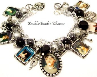 Jane Austen Books Charm Bracelet Jewelry, Famous Authors Charm Bracelet Jewelry, Book Charm Bracelet, Literary Charm Bracelet Jewelry