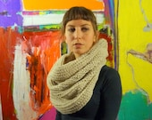 Off white, natural, eco friendly oversized cowl, infinity scarf, undyed wool crochet scarf