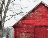 The Snowy Red Barn - Christmas scenery , red barn, winter , snow, photography, landscape, rustic wall art, nature, old barn, fine art print