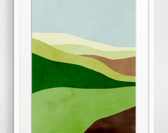 Modern Art Print, Large Wall Art, Mid Century Modern Art, Abstract Landscape, Green Wall Decor