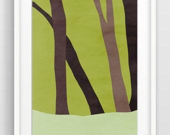Woodland Art, Nature Art, Modern Art Print, Large Wall Art, Contemporary Wall Art, Forest Art, Trees, Woods