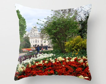 St. James Park in London photo pillow cover of red flowers and building