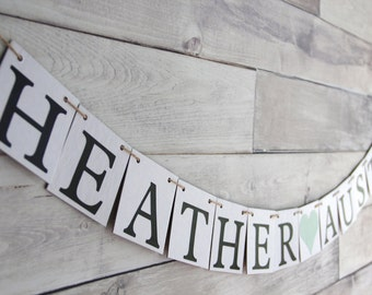 Sweetheart Table banner, Custom Name Banner, Mr and Mrs Table, Wedding Decoration