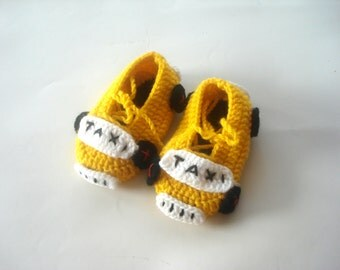 baby boy shoes, Yellow taxi cars Baby shoes, animal Taxi Driver Baby Booties 0 - 12 month baby, crochet baby shoes, baby socks