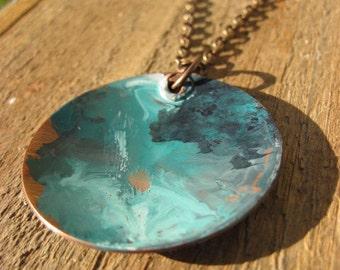 Blue Copper Necklace- Patina copper bowl bohemian necklace