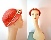 1930s Vintage Red Straw with Rope Ribbon Hat