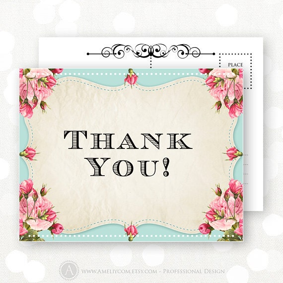 printable thank you cards instant download teal pink etsy