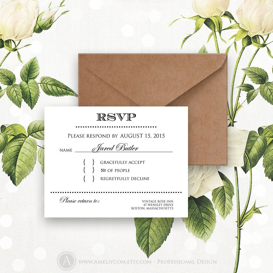 Printable RSVP Card Instant Download White Reply Card Digital