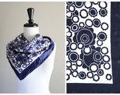 Beautiful Indigo Blue & White Vintage 1970s Scarf / 1960s  Mod Glam