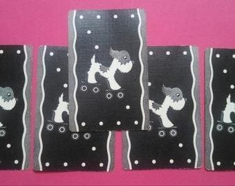 5  vintage playing cards dog on skates (2-151)