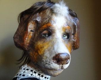 3D Mask Paper mache papier mache dog mask animal mask