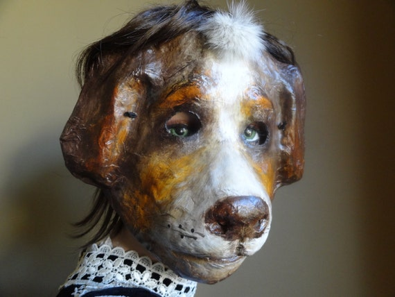 3d mask paper mache papier mache dog mask animal mask - Masque papier mache ...