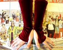 Long Crimson Velvet Fingerless Gloves
