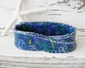 Business card holder blue green jewelry clay handmade ceramic rustic pottery
