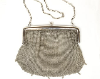Vintage Purse - Vintage Solid Silver 800 Mesh Purse