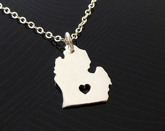 Lower Michigan Necklace - Sterling Silver Necklace - State Necklace - State Charm  - I heart Lower Michigan - I love Michigan