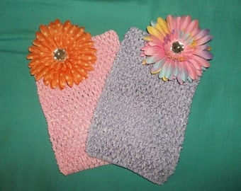 "8"" Waffle Crochet Tube Tops Tutu Tops embellished with a Flower"