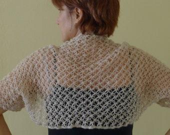 Tan Sleeved mohair shrug, hand crochet