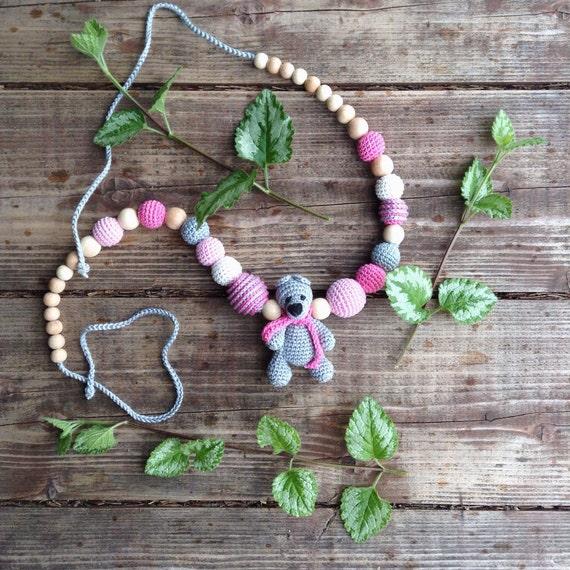 Резерв для Виктории Nursing necklace with amigurumi Teddy Bear in baby cranberry pink, milk white and silver grey by kangarusha