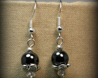 Hematite, Swarovski, and silver dangle earrings - hand made