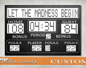Basketball Birthday or March Madness Printable Scoreboard 36x24