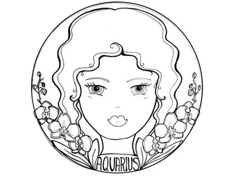 Customized Zodiac Girl + Reading - Astrology Art original Artwork by Mandie Bee // Rocketship Dreams