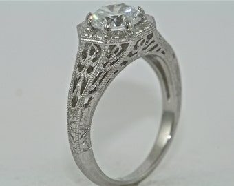 14kt White Gold Edwardian Style Solitaire Engagement Ring with 1.00ct White Sapphire
