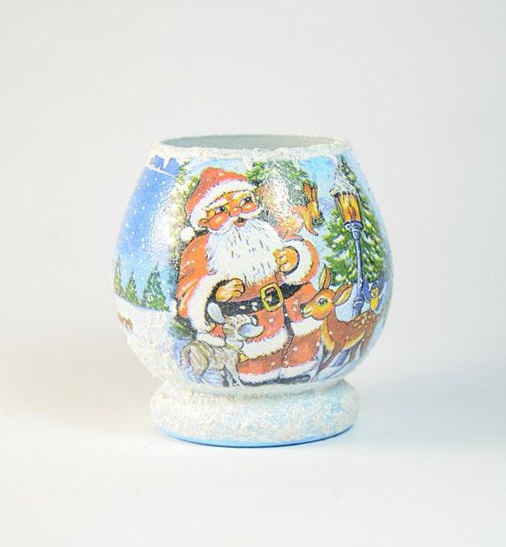 Christmas Glass Tea Light Candle Holder , Christmas Home Decor,Holiday candles, Christmas candles