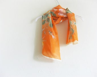 Orange silk scarf, hand painted silk, woman silk accessory, floral scarves, handmade gift her, silk art - made TO ORDER