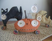 Halloween Parade Set Of 3 Primitive Black Cat, Pumpkin, And Ghost Shelf Sitters on Vintage Spools