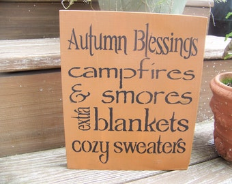 Autumn Blessings Primitive Woodcraft Sign